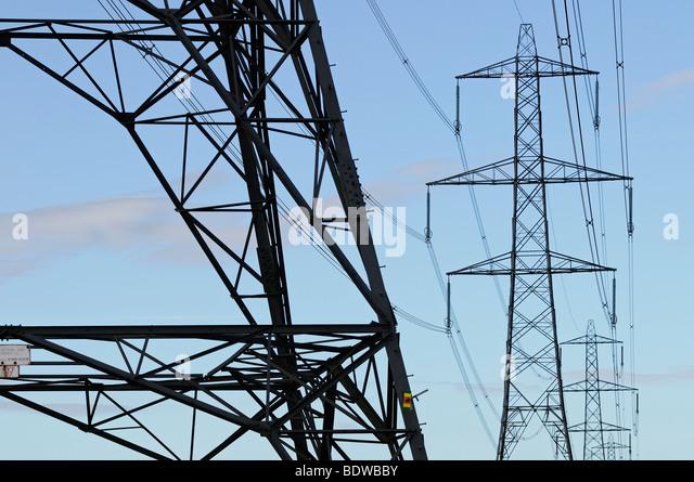 Electricity Pylons, Didcot, Oxfordshire, United Kingdom. - Stock Image