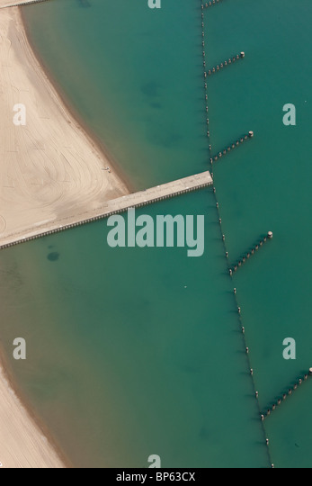 Aerial landscape photograph of water and beaches - Stock Image