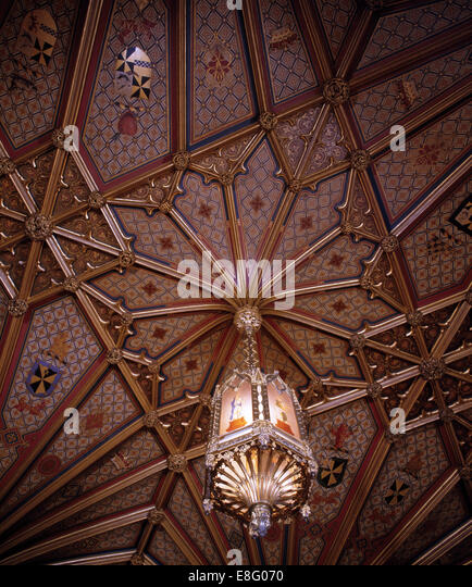 Close-up of ornate light and ceiling in stately home - Stock Image