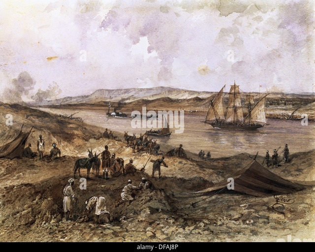 Suez Canal. Egypt. Opened in November 1869. Watercolor by Riou. Compiegne Castle. France. - Stock-Bilder