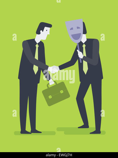 Businessman shaking hands with his partner hiding behind mask - Stock Image
