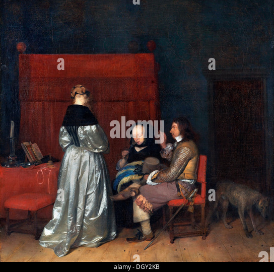 Gerard ter Borch, The Paternal Admonition. Circa 1653-1655. Oil on canvas. Rijksmuseum, Amsterdam. - Stock Image