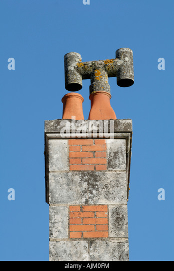 Chimney stack, Preuilly-sur-Claise, Indre-et-Loire, France. - Stock Image
