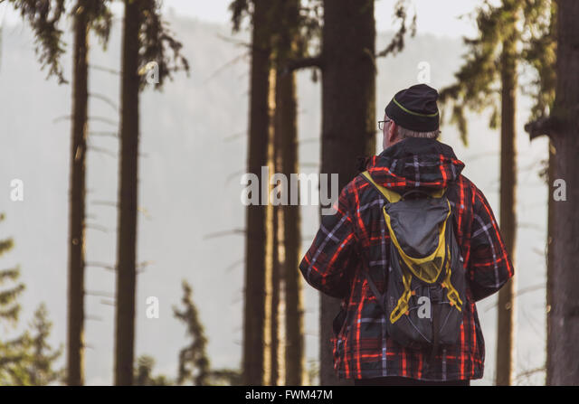 Rear View Of Man Standing Against Trees - Stock Image
