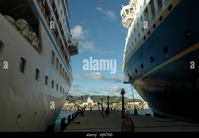 St Kitts Port Zante Caribbean Cruise Ship Dock with two cruise ships moored anchored - Stock Image