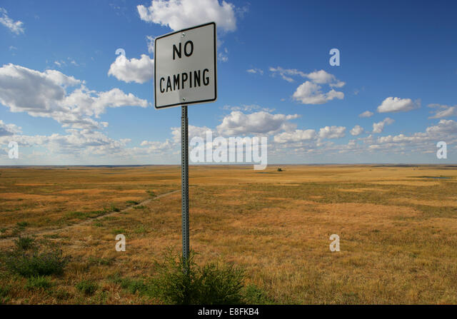 No camping sign in wilderness, America, USA - Stock Image