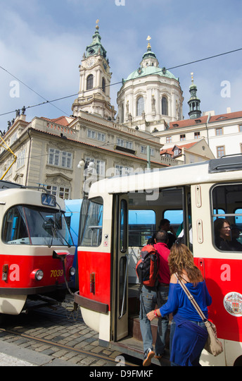 Street tram, Prague, Czech Republic - Stock-Bilder