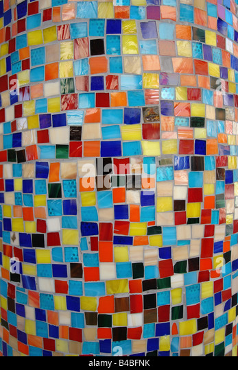 Closeup Detail of Vibrantly Colored Tiled Column - Stock Image