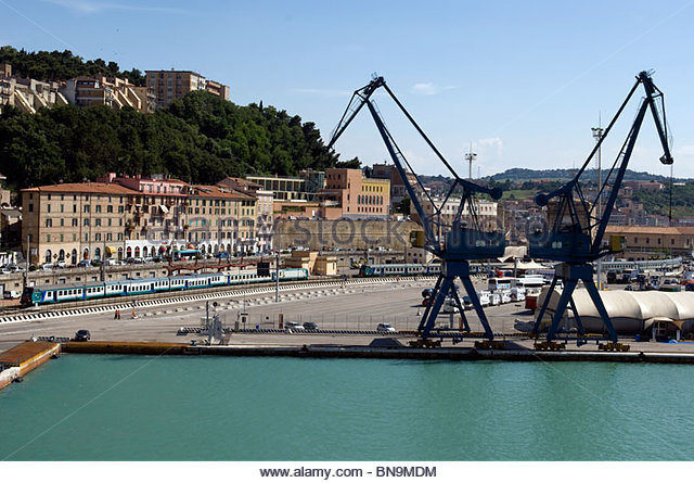 Italy Ancona port sea cranes industrial train Travel Tourism Roberto Meazza IML Image Group - Stock-Bilder