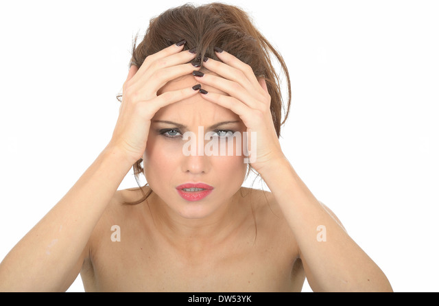 Stressed Angry Young Woman - Stock Image