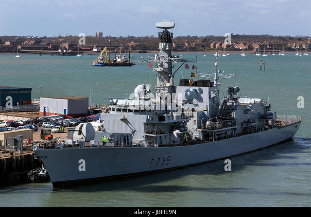 HMS Richmond (F239) a type 23 Frigate of the British Royal Navy in dock at Portsmouth Dockyards in the United Kingdom. - Stock Image