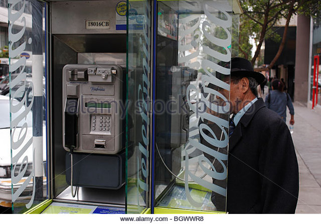 Public telephone in Miraflores area of Lima, Peru - Stock Image