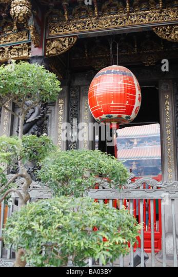 Lantern Hanging At Longshan Temple, Taipei, Taiwan - Stock Image