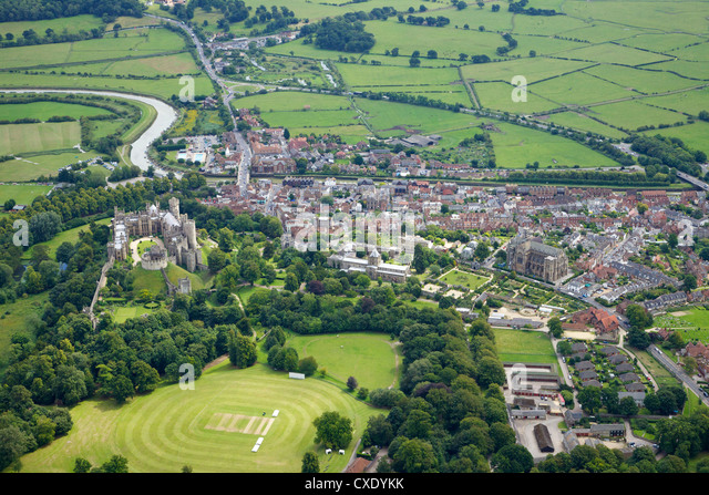 Aerial view of Arundel Castle, cricket ground and cathedral, Arundel, West Sussex, England, United Kingdom, Europe - Stock Image