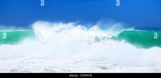 Paradise beach, beautiful nature, seascape with high surfing waves, summertime vacation concept - Stock Image