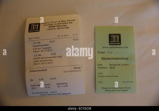 german local travel tour receipt radius tours - Stock-Bilder