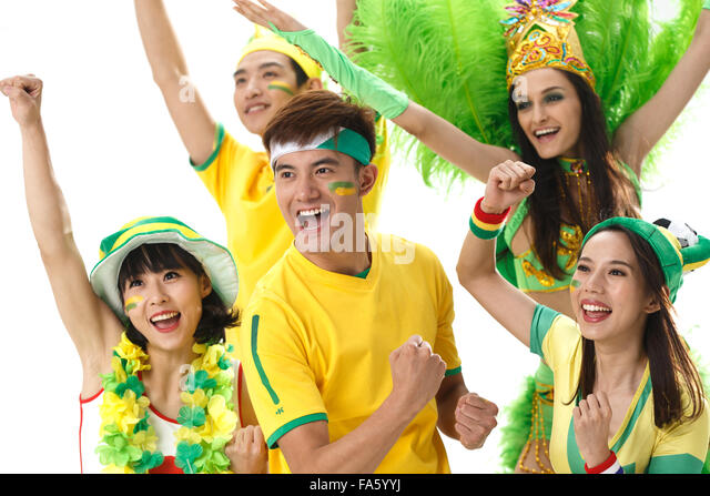 Young fans cheer - Stock Image