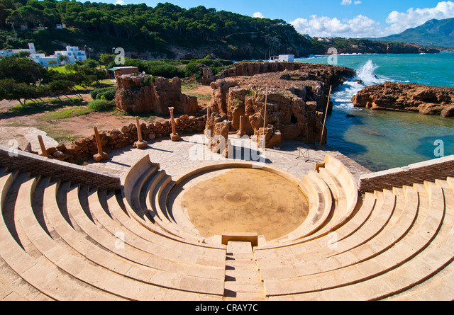 Amphitheater at the beach resort Corne d'Or, former stronghold, Tipasa, Algeria, Africa - Stock Image