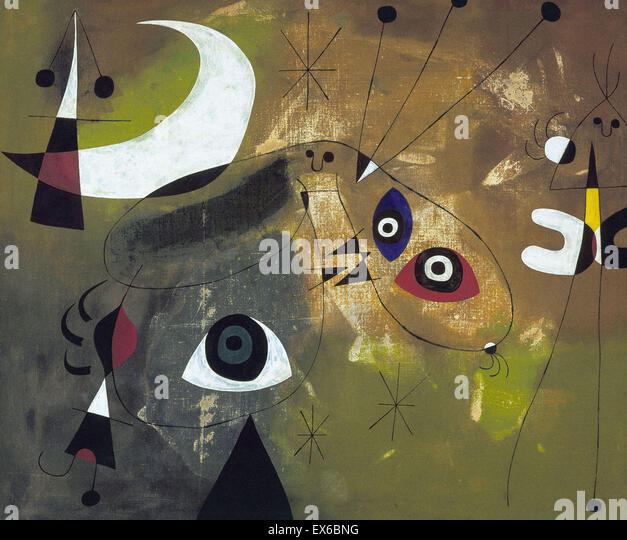 Joán Miró  Painting (Personage and Moon) - Stock-Bilder