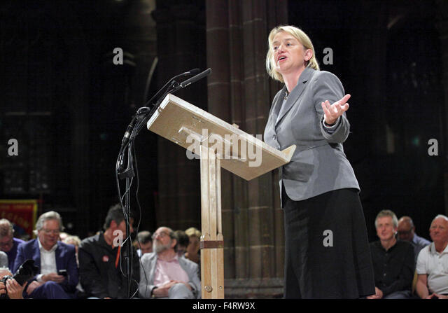 Natalie Bennett, UK Green Party Leader, politician, environmental politics, Peoples Post, Manchester Cathedral - Stock Image