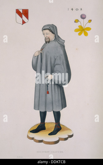 Geoffrey Chaucer, 1402, (1843). Artist: Henry Shaw - Stock Image