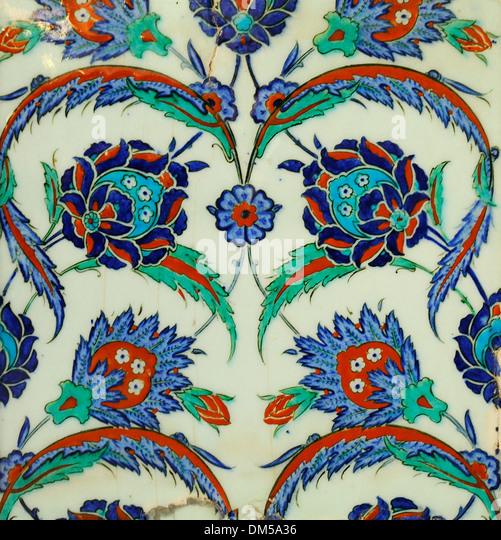 Iznik tile on the porch of the Rüstem Paşa Camii, Istanbul, Turkey 130910_30967 - Stock Image