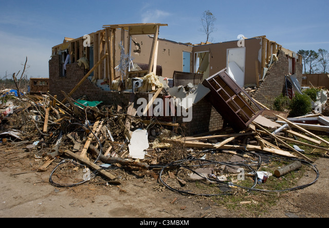 House hit by tornado in Tuscaloosa Alabama, USA, May 2011 - Stock Image