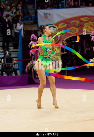 MOSCOW - FEBRUARY 20: on Rhythmic gymnastics Alina Cup Grand Prix Moscow - 2016 on February 20, 2016, in Moscow, - Stock Image