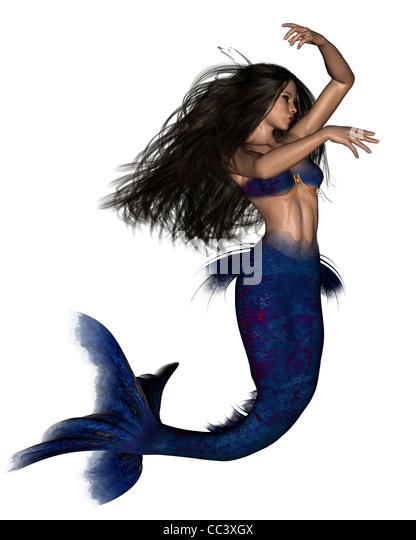 Dark Haired Mermaid - 3 - Stock Image