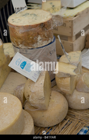 Monkland specialist artisan cheese on sale at the food festival Ludlow Shropshire England UK - Stock Image