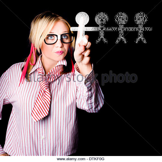 Human Resources Manager Headhunting Staff Members When Clicking On Digital Stick Men In A Job Interview Concept - Stock Image