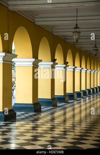 Arches and tiled floor, Ayuntamiento de Lima (Municipal Building), Lima, Peru - Stock Image