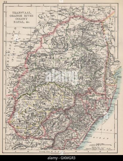 COLONIAL SOUTH AFRICA. Orange Free State Natal Basutoland SA Republic, 1903 map - Stock Image