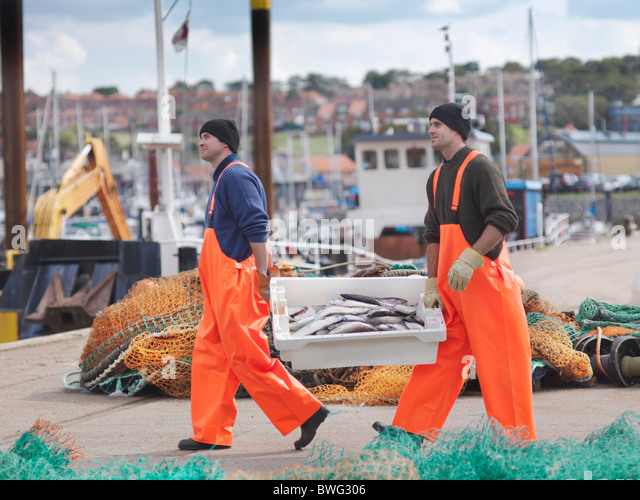 Fishermen with box of fish on harbour - Stock Image