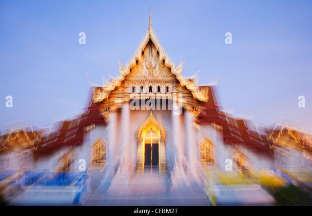 Thailand, Bangkok, Wat Benchamabophit aka Marble Temple - Stock Image