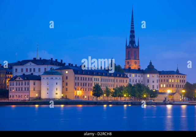 City skyline from City Hall at dusk, Kungsholmen, Stockholm, Sweden, Europe - Stock Image