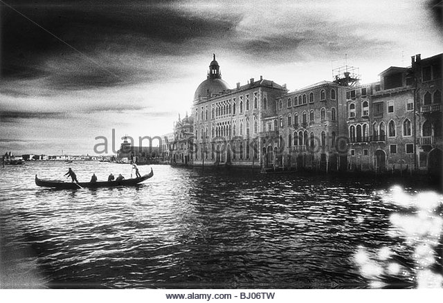 The Grand Canal near the Basilica of Santa Maria della Salute, Venice, Italy - Stock-Bilder