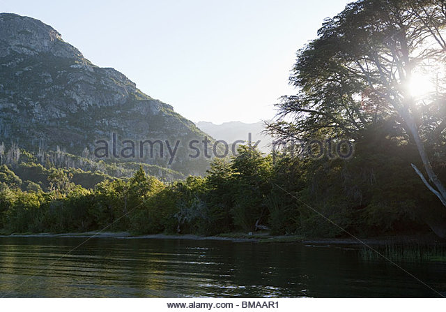 Peaceful lake and landscape in argentina - Stock Image