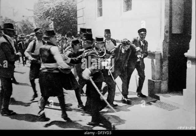 Arrest of First Bomb Thrower, Nedeljko Cabrinovic, in Assassination of Archduke Franz Ferdinand and Wife, Sarajevo, - Stock Image