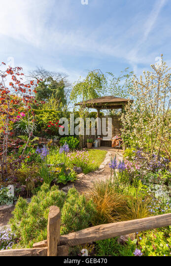 A show garden at the 2016 RHS Malvern Spring Show, Worcestershire, England, UK - Stock-Bilder