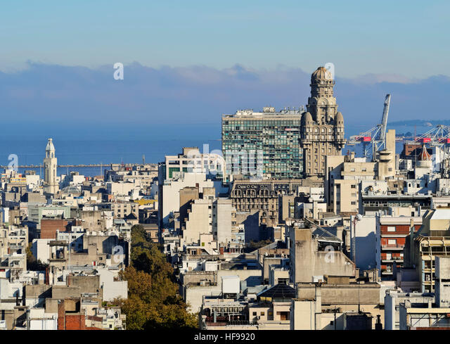 View of Montevideo with Intendencia de Montevideo, seen from City Hall, Montevideo, Uruguay - Stock Image