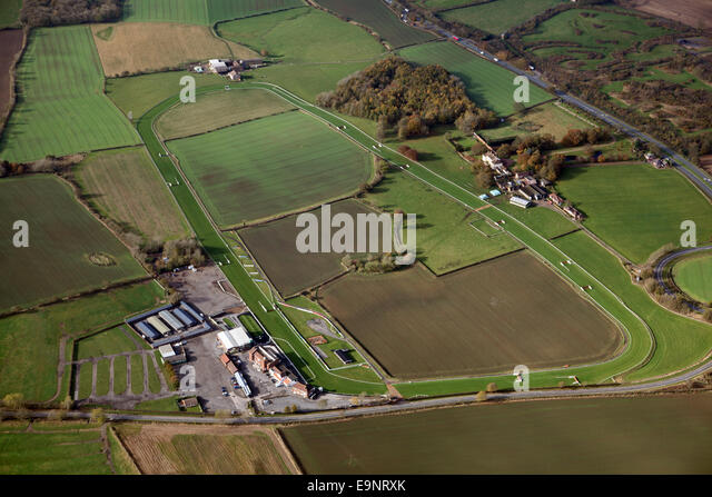 aerial view of Sedgefield racecourse in the North East of England, UK - Stock Image