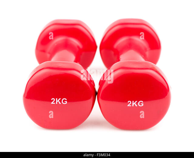 Two dumbbell weights for weightlifting - Stock Image