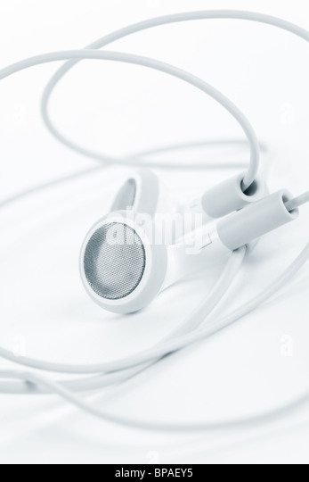 white earphones, concept of digital music - Stock-Bilder