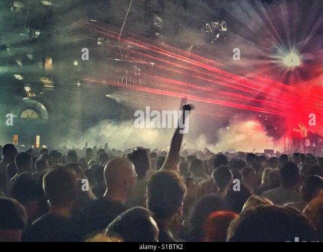 A huge crowd enjoying a concert - Stock Image