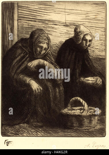 Alphonse Legros, Egg-sellers, 2nd plate (Les marchandes d'oeufs), French, 1837-1911, etching and drypoint - Stock-Bilder