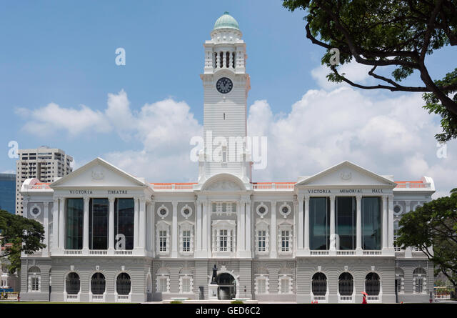 Victoria Theatre and Concert Hall, Empress Place, Civic District, Singapore Island, Singapore - Stock Image