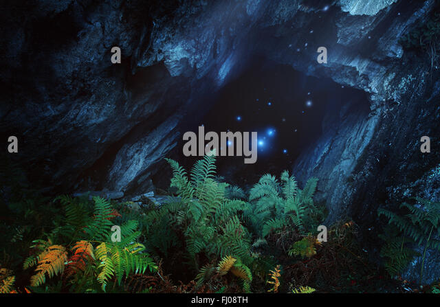Dark magical cave with mountain spirits. Fantasy and surreal - Stock-Bilder