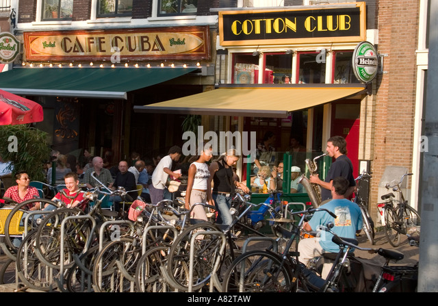 Amsterdam street cafe Cafe Cuba cotton club - Stock Image