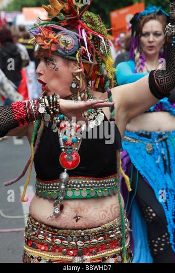 Germany Berlin Carnival of Cultures woman in costume - Stock-Bilder